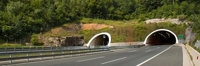 Two tubes tunnel on highway between Zagreb and Rijeka in croatia